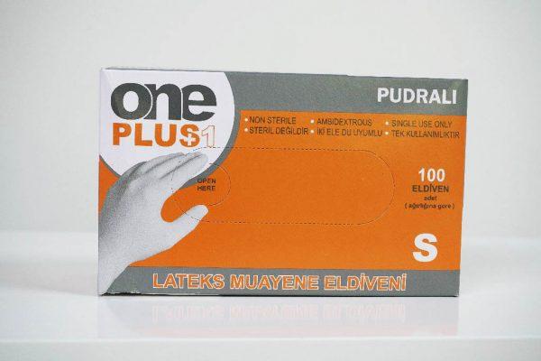 One Plus +1 lateks muayene eldivenleri pudrali Toptan Satış Üretici (2)