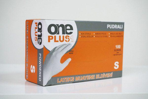 One Plus +1 lateks muayene eldivenleri pudrali Toptan Satış Üretici (3)