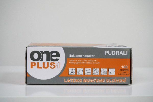 One Plus +1 lateks muayene eldivenleri pudrali Toptan Satış Üretici (5)