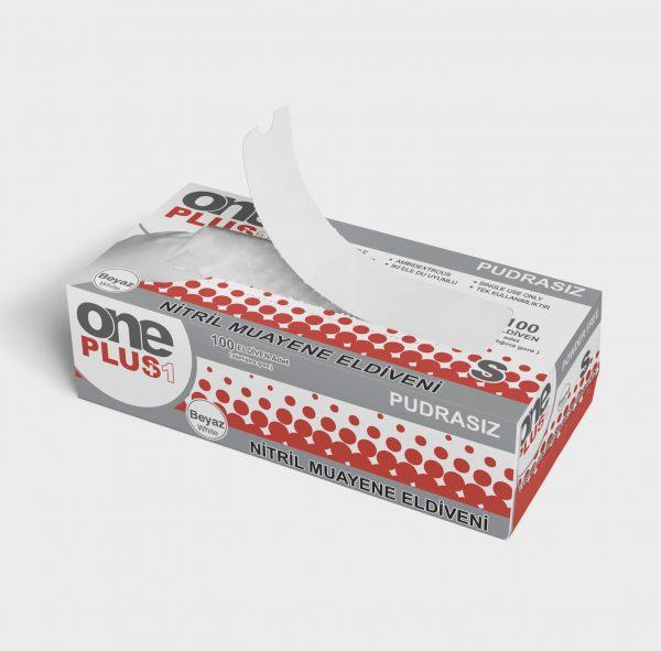 One Plus +1 Nitril Pudrasiz Muayene Eldiveni beyaz Toptan Satış Üretici 3