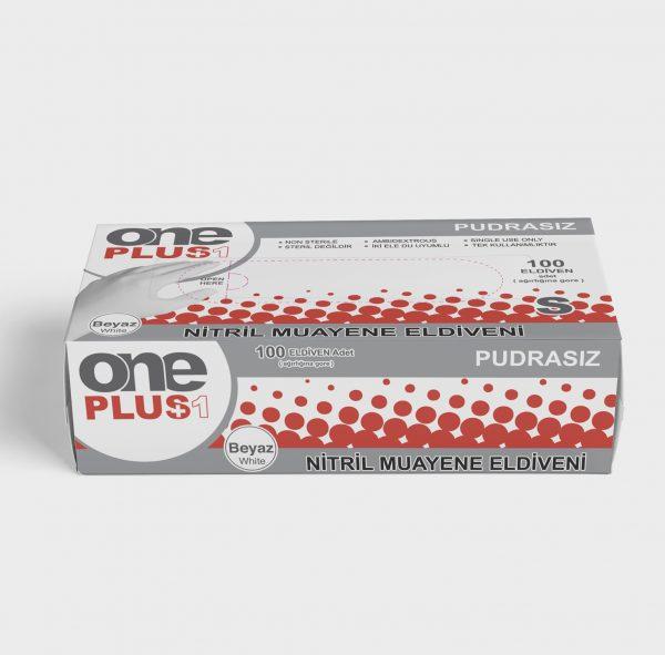 One Plus +1 Nitril Pudrasiz Muayene Eldiveni beyaz Toptan Satış Üretici 2