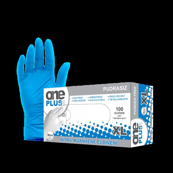 One Plus +1 Nitril Pudrasiz Muayene Eldiveni Mavı Toptan Satış Üretici