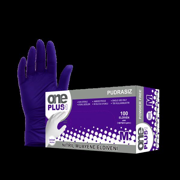 One Plus +1 Nitril Pudrasiz Muayene Eldiveni mor Toptan Satış Üretici