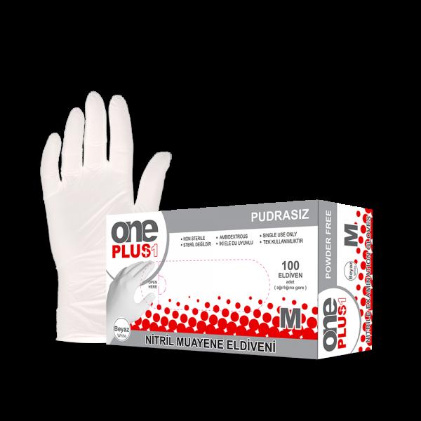 One Plus +1 Nitril Pudrasiz Muayene Eldiveni beyaz Toptan Satış Üretici