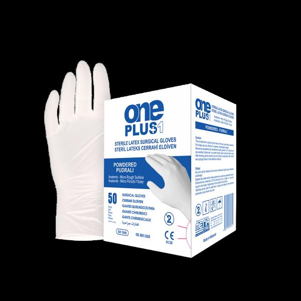 One Plus +1 Lateks Cerrahi Eldiveni Pudralı Toptan Satış Üretici