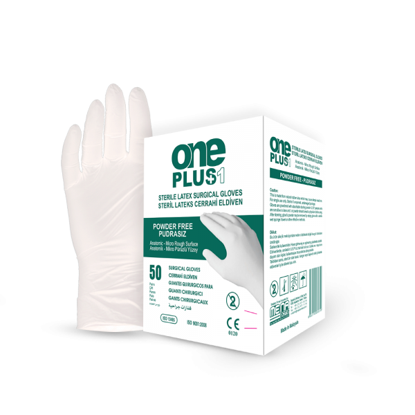 One Plus +1 Lateks Cerrahi Eldiveni Pudrasız Toptan Satış Üretici