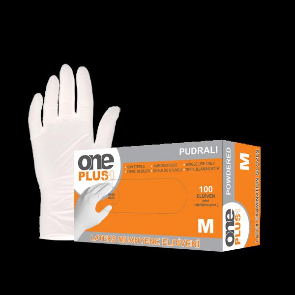 One Plus +1 lateks muayene eldivenleri pudrali Toptan Satış Üretici